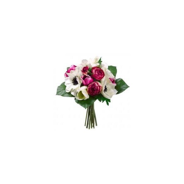 """10"""" Anemone & Tulip Silk Flower Bouquet -Cream/Beauty (€12) ❤ liked on Polyvore"""