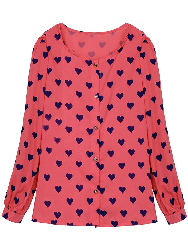 Women Round Neck Heart Printed Chiffon Long Sleeve Blouse