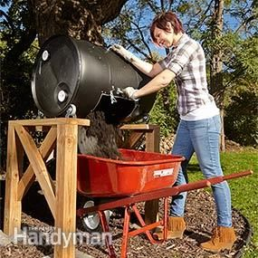 Compost tumbler mount plans - Right into the wheelbarrow, no bending or digging.
