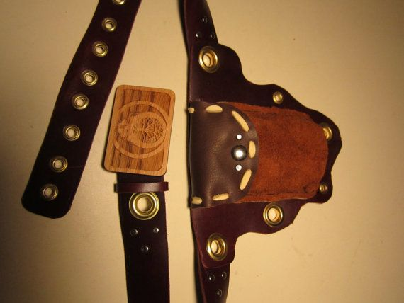 Hand Made Leather UTILITY BELT~PURSE,Free Shipping w/ Steal your Face Grateful Dead Head Tree of Life belt buckle, Elk, Buckskin, Latigo