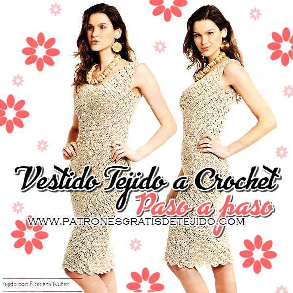 Vestido crochet elegante con paso a paso en español | tejidos ...