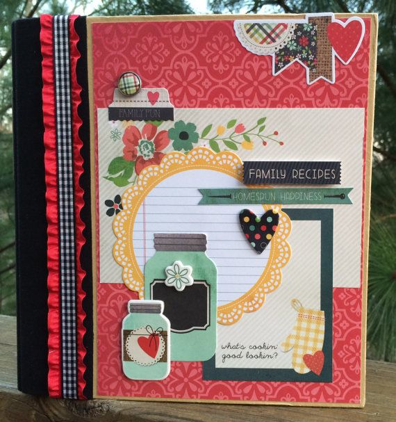 Recipe Album Scrapbook Mini Album Kit or Premade by ArtsyAlbums, $58.99