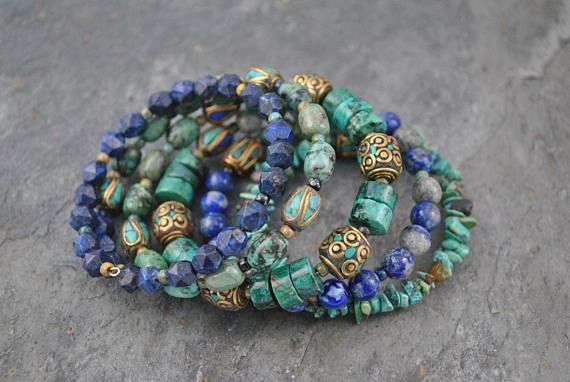 Tribal Style Nepalese Bead Lapis Lazuli & African Turquoise Five Strand Memory Wire Cuff Bracelet #memorywire #five #fivestrand #tribal #tribalstyle #boho #bohemian #nepalese #nepalesebeads #brass #turquoise #african #africanturquoise #heishi #oversized #lapis #faceted #facetedlapis #mottled #blue #green #bluegreen #rustic #unique #statement #picasso #picassoseedbeads