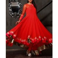 Lust Red Anarkali Suit with Floral Applique