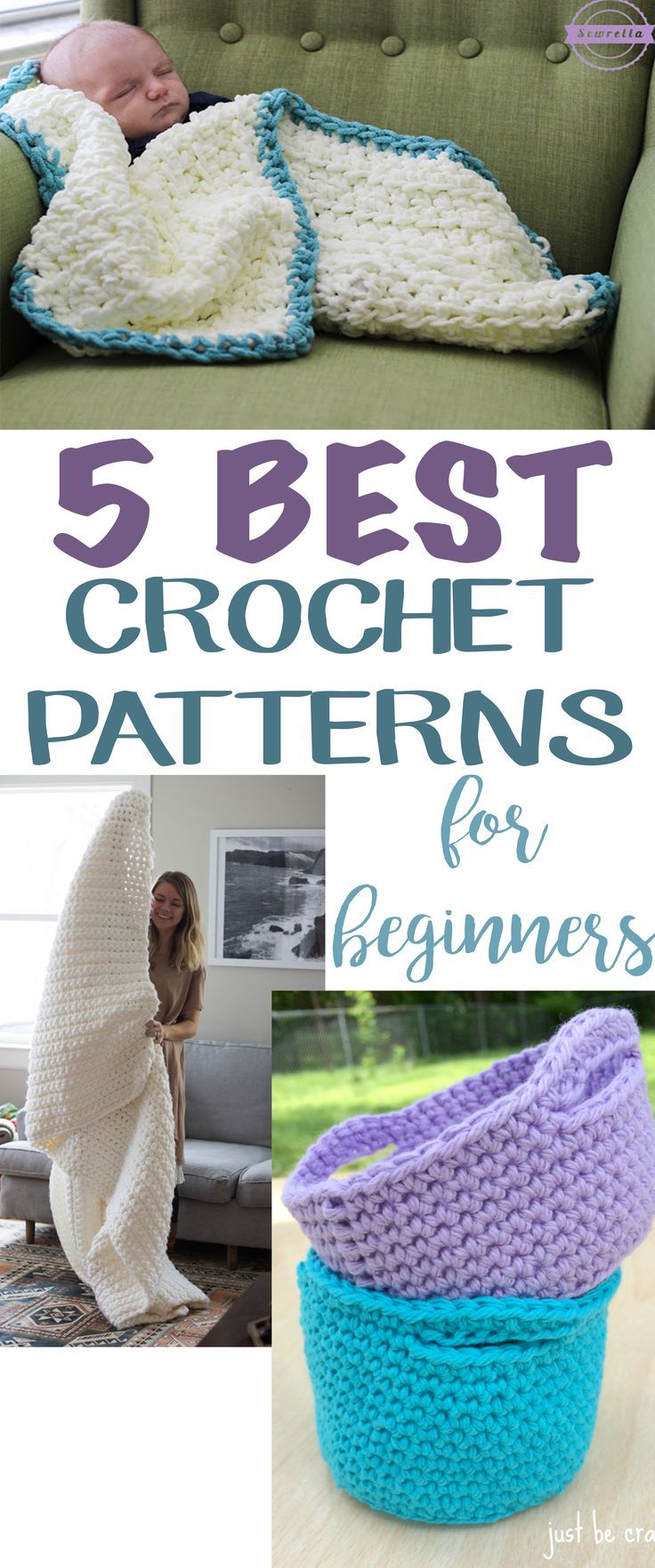 5 Best Easy Crochet Patterns for Beginners   Free Pattern Roundup from Sewrella