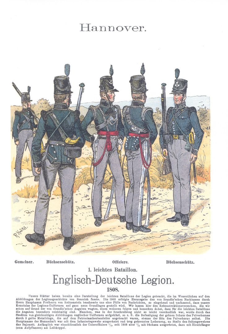 Vol 14 - Pl 40 - Hannover. Englisch-Deutsche Legion. 1. leichtes Bataillon. Gemeiner. Büchsenschütz. Offiziere. Büchsenschütz. 1808.