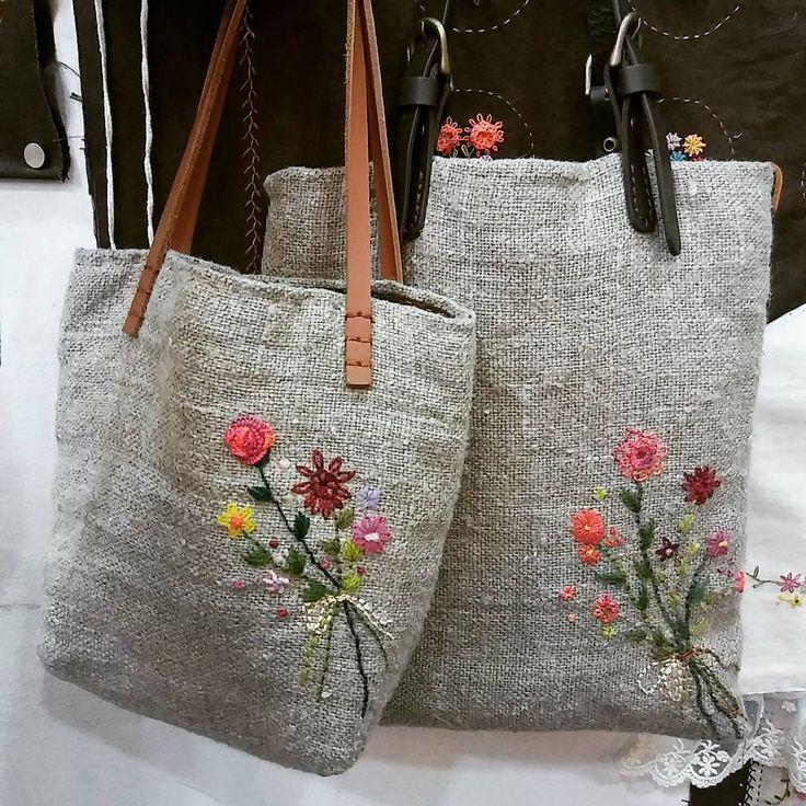 "1,036 Likes, 24 Comments - mimi ~ (@lmrblue) on Instagram: ""#Embroidery#stitch#needlework #프랑스자수#일산프랑스자수#자수#자수타그램#자수미니가방 #귀욤귀욤 햄프미니가방 ~"""