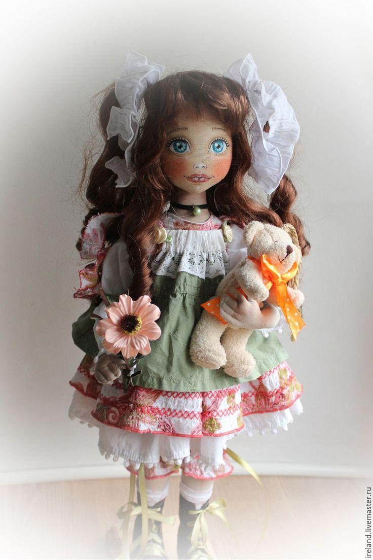 """Купить Текстильная кукла """"Лилу"""" - коралловый, оливковый, кружево, шитье, хлопок…"""