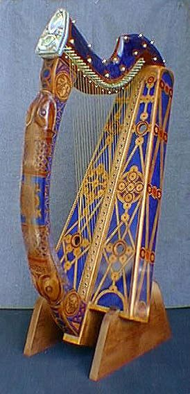 The Witcher Trinity Harp, a reproduction of the Brian Boru harp The harp itself plus its carving, silver and jewel ornamentation by Jay Witcher, 2000 Pyroengraving and color by Charlotte Hallett, 2000   there is an interesting article here: http://carverscompanion.com/Ezine/Vol8Issue6/KMenendez/KMenendez2.html  and more about Witcher Harps: http://www.witcherharps.com/index.php/brass-strung-wire-harps/trinity-college-style/