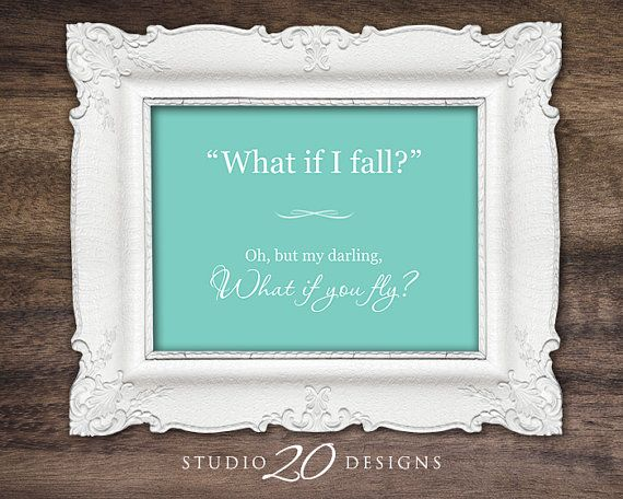 Instant Download Tiffany Blue Nursery Wall Art, 8x10 What If I Fall Baby Shower Gift, Printable Art Digital File, Baby Nursery Picture #56A