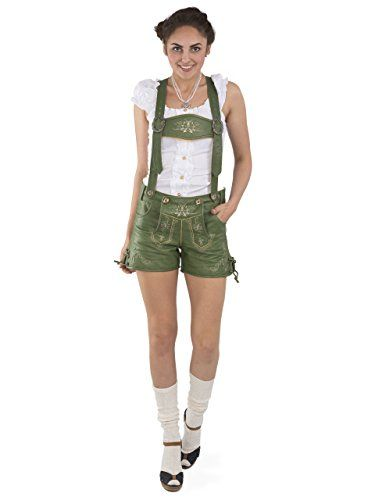 #Wiesn #Oktoberfest #Damen #Lederhose #Alpengrün #kurz  #Trachtenlederhose #Oktoberfest #Vintage #Lederhose #Büffelleder #(32, #grün) Damen Lederhose Alpengrün kurz - Trachtenlederhose Oktoberfest Vintage Lederhose Büffelleder (32, grün), , kurze