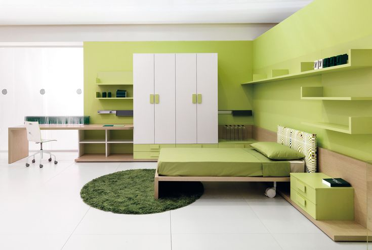 Light Green Teenage Bedroom With Minimalist Furniture Design For Inspiring Look : Natural and Fresh Striking Look with Green Bedroom Ideas