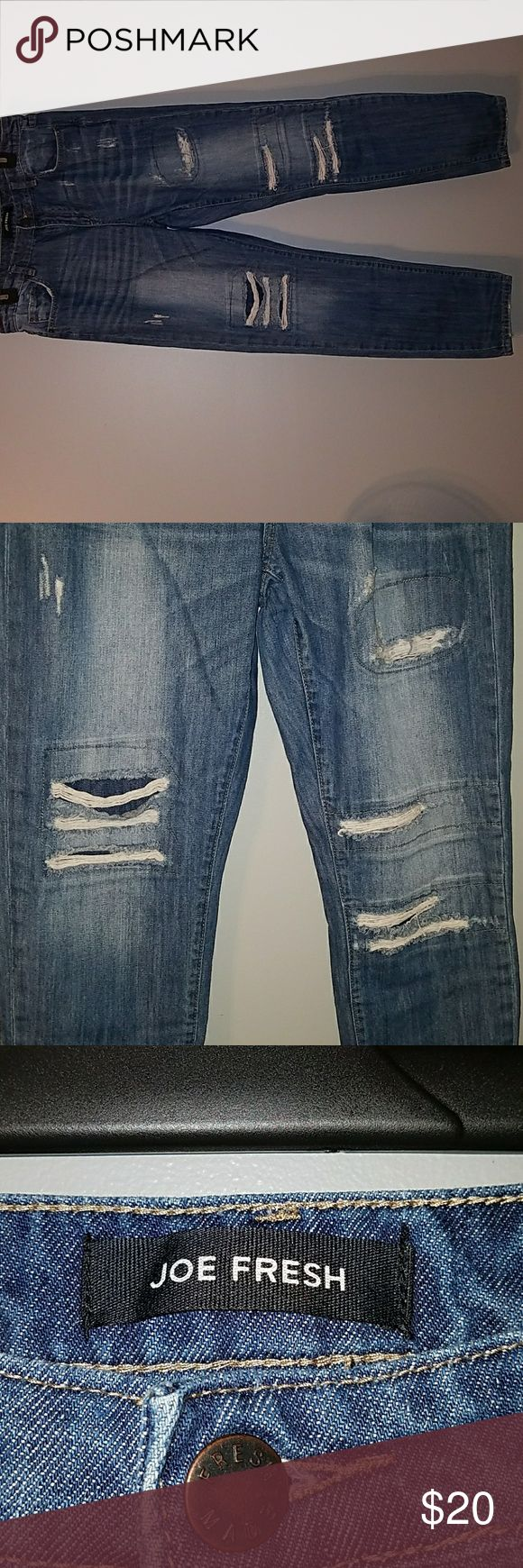 Joe Fresh Jeans 10 Boyfriend Distressed Factory distressed blue jeans, size 10 (30). No other holes, rips, or stains. No wearing in the thigh area. In excellent condition! Boyfriend style, Joe Fresh brand. Comes from pet and smoke free home. Joe Fresh Jeans Boyfriend
