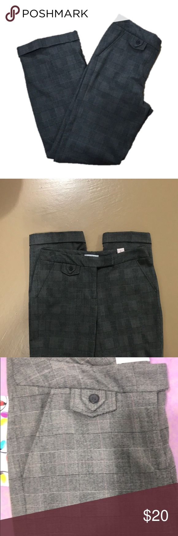 NWT Dress Barn Glen Plaid Grey Slacks size 8 NWT Dress Barn Ladies Glen Plaid Grey Dress pants, size 8. Small, non, functional but very cute pocket at the waistline. Cuffed hems. Clasp and zipper both are intact and work well. The inside button has fallen off but the replacement button is still attached with the tags. Two functional pockets. These slacks are very classy. Measurements are available upon request and are approximate. Bundle for more savings and I'm open to offers. Dress Barn…