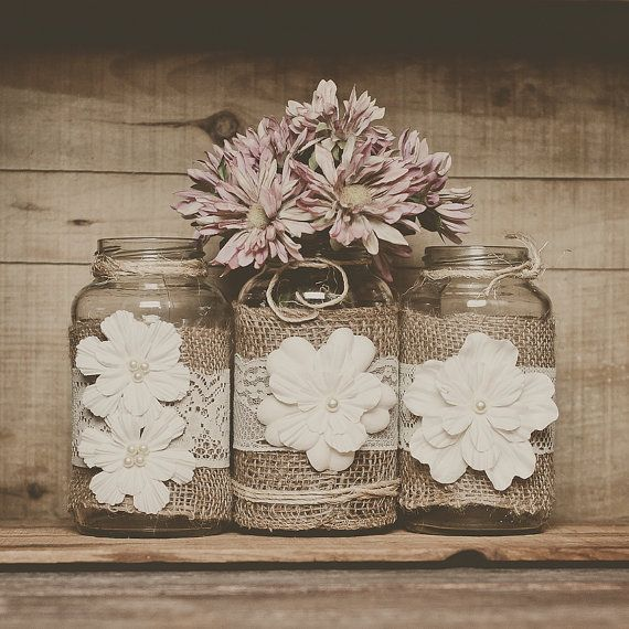 3 Lace and burlap wedding centerpieces. Lace and burlap wedding. Rustic wedding, barn wedding. Mason jar.
