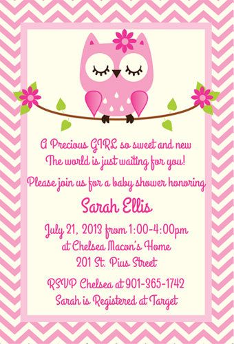 Pink Owl Baby Shower Invitation By Silverorchidgraphics On Etsy 15 00 Pinterest Invitations And