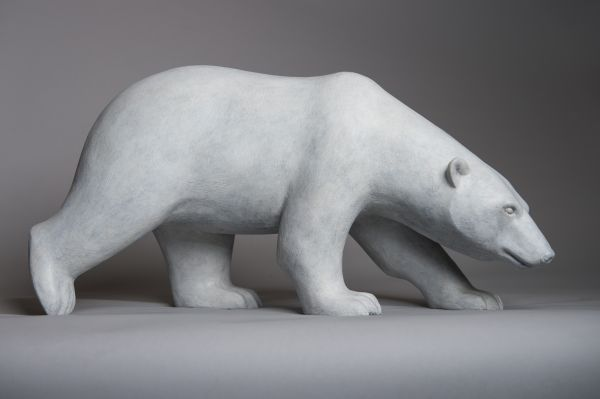 #Bronze #sculpture by #sculptor Anthony Smith titled: 'Stalking Polar Bear'. #AnthonySmith