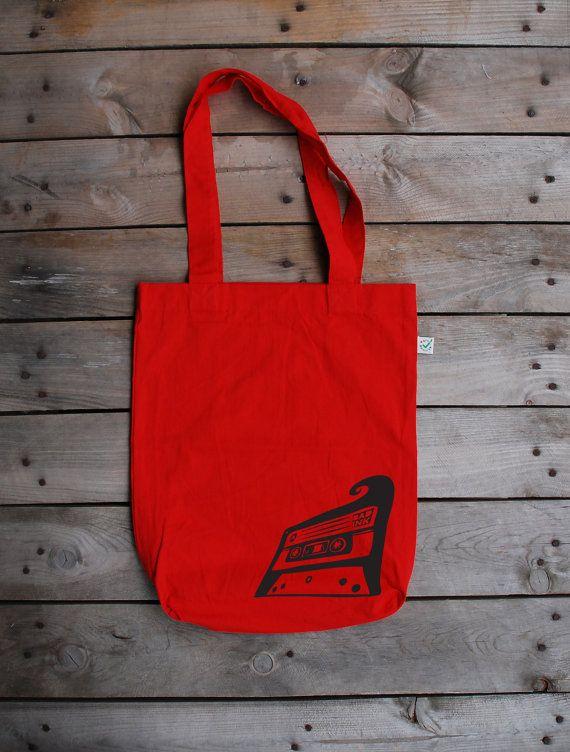 Cassette - 100% Organic Fashion Bag - Red color - Bad Ink for girls