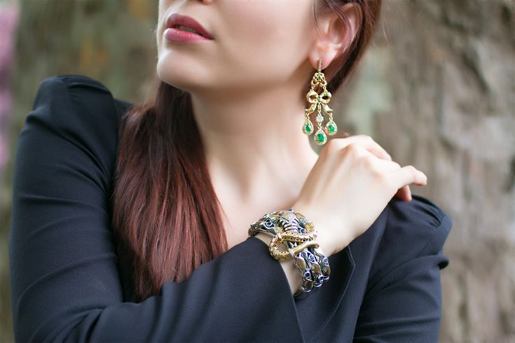 Azza Fahmy cuff bracelet and earrings from the Wonders of Nature collection