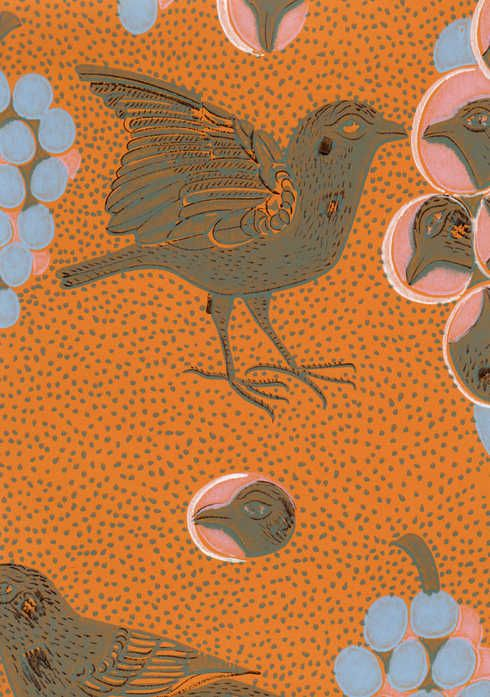 Birger Kaipiainen: Ken kiuruista kaunein -- This wallpaper will eventually cover the walls of my vintage 50's kitchen, accompanied with the original tiffany blue 1950's cupboards and cabinets. ~ Minun ihanan vintagekeittiöni uusi tapetti. Keittiön suurten pintojen päävärit tulevat olemaan turkoosi ja oranssi.