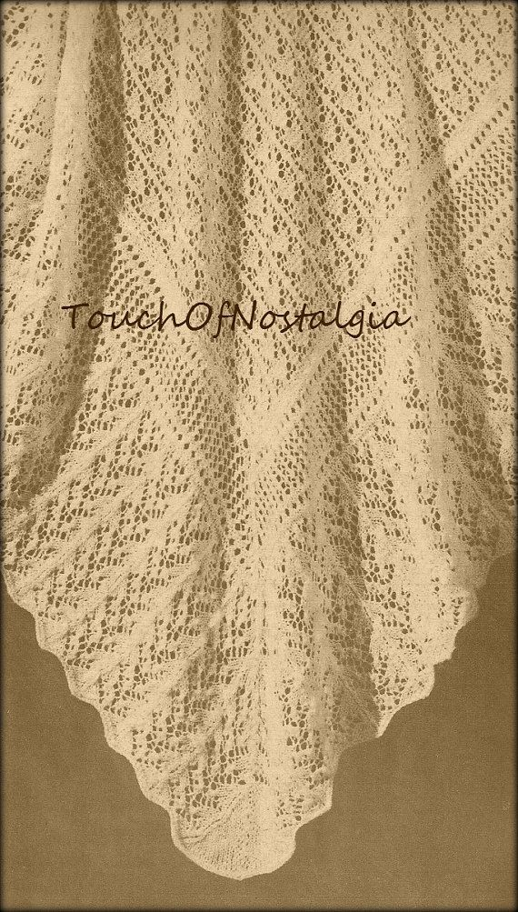 LACY Baby SHAWL Vintage Knitting Pattern  by touchofnostalgia7