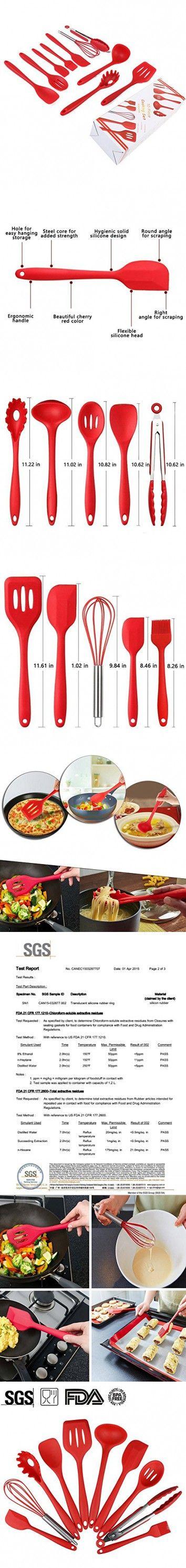 Silicone Utensils, Heat Resistant Silicone Kitchen Utensils Set of 10 Pieces, Non Stick - Non Scratch Cooking Utensils Kitchen Good Helper