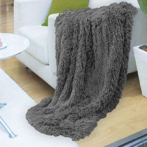 Плед-покрывало меховое 220х240 серое ― Мир Текстиля