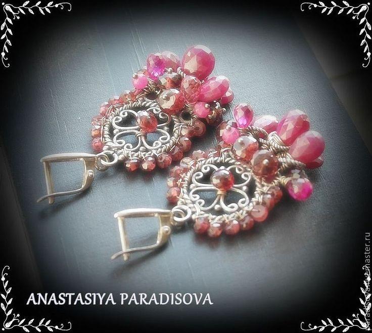 """Купить """"RUBY RED"""" серебро - рубиновый браслет, рубиновые серьги, серебряные серьги, серебряный браслет"""