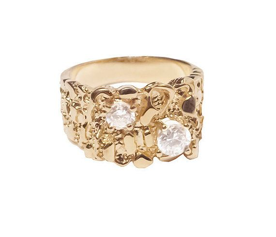 gold nugget ring faux diamonds ring size 11 vintage