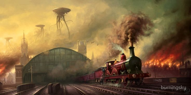 The fall of London by burningsky - Sci Fi and steam trains in one print!