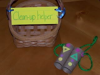 transition ideas - also binoculars are a good idea if we use classroom inspector. Idea of whistle and train going around room to clean up - could use.