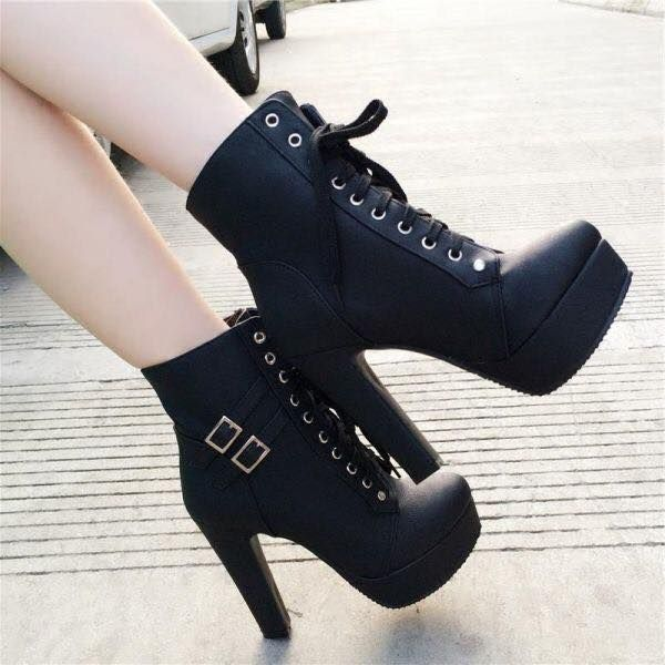 Skull Products For Skull Lovers Black Lace Up Boots Chunky Heels Boots Boots