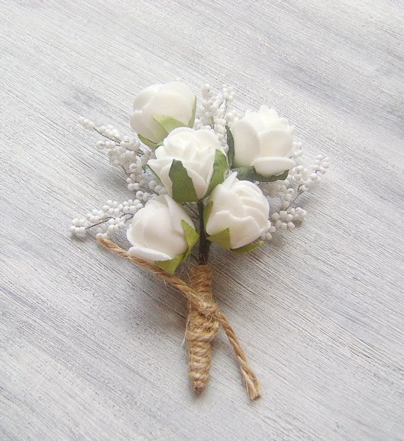 groomsmen wedding boutonniere, Wedding Accessory for Groom, Prom , mens wedding boutonniere, White Roses and baby's breath of seed beads on Etsy, $17.00