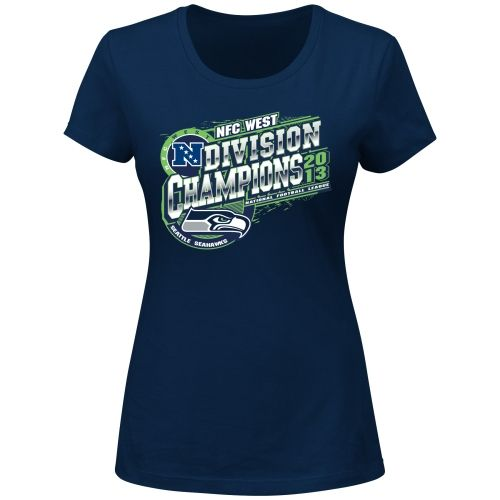 Seattle Seahawks 2013 NFC West Division Champions Ladies T-Shirt - College Navy