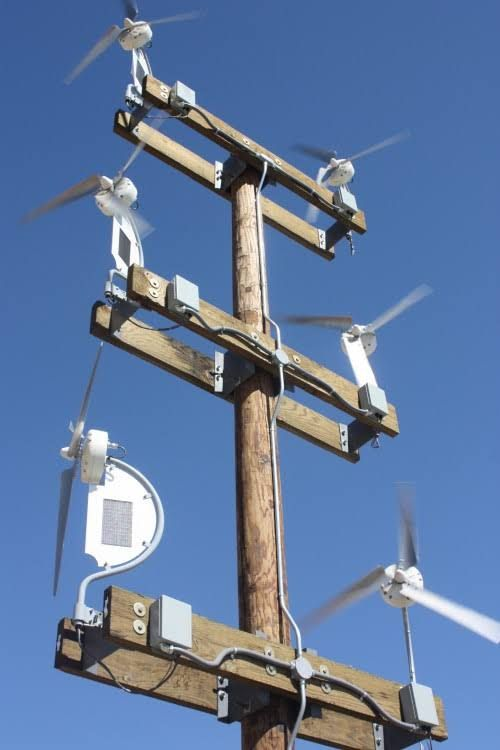 These look pretty cool. And apparently they are getting popular in San Diego. They are small wind turbines combined with solar panels from DyoCore. The name of this product is SolAir.