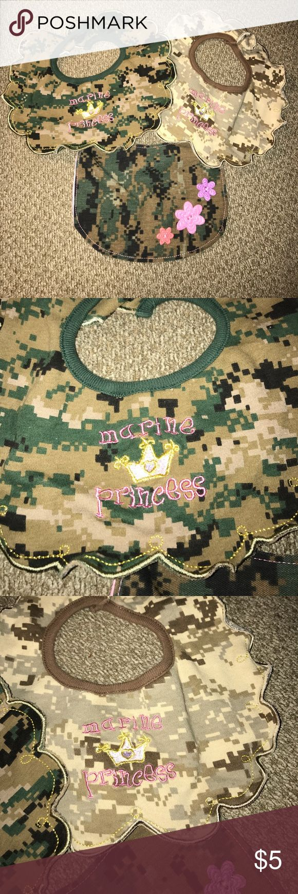 USMC baby girl bibs. Lot of three military Marine cammies baby girl bibs. You get both the desert and woodlands camouflage. USMC Accessories Bibs