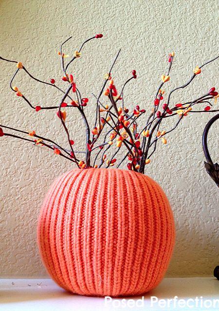 Orange Sweater Pumpkin Vase