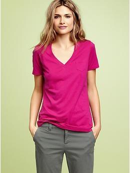 Want that colour top!  Mercer V-neck pocket T | Gap: Style Inspiration, Gap Tees, Vneck Pockets, Style Pinboard, V Neck Pockets, Colour Tops, Products, Style Stuff