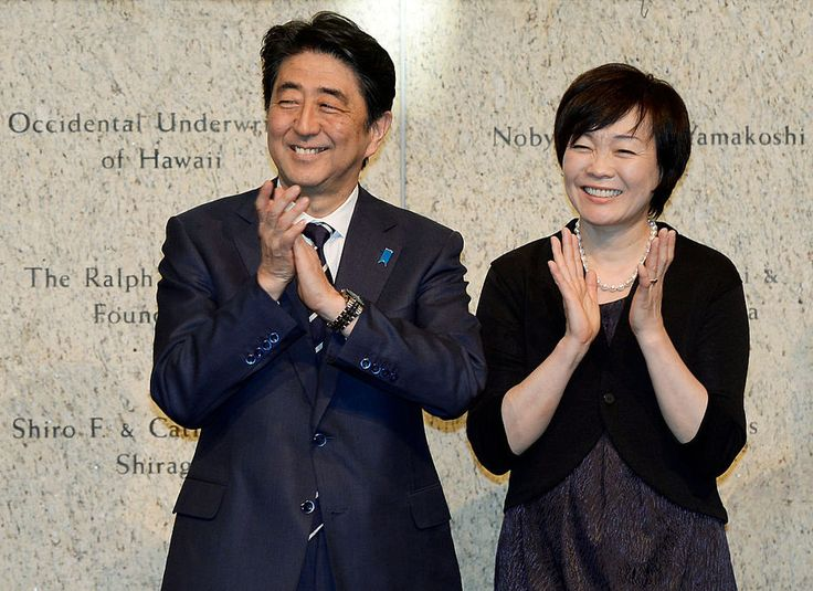 LOS ANGELES, CA - MAY 01: Japan's Prime Minister Shinzo Abe (L) and his wife Akie Abe attend a reception at the Japanese American National Museum May 1, 2015 in Los Angeles, California. Abe is on tour in the United States until May 3. (Photo by Kevork Djansezian/Getty Images)