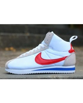 2016 Latest Nike Classic Cortez High Tops Mens Womens Sneakers White Red  Blue 7b776368e