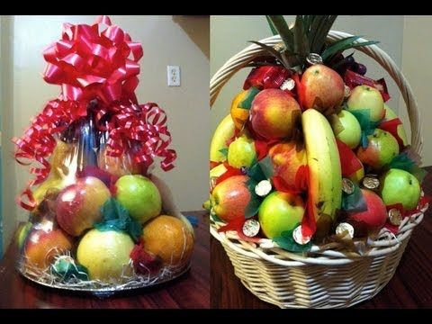 Como hacer canastas de fruta para regalo o para padrinos - Como decorar cajas de madera para centros de mesa ...
