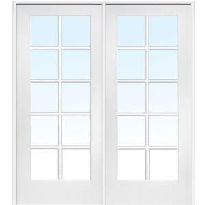 MMI Door 62 In. X 81.75 In. Classic Clear Glass 10 Lite Interior French  Double Door