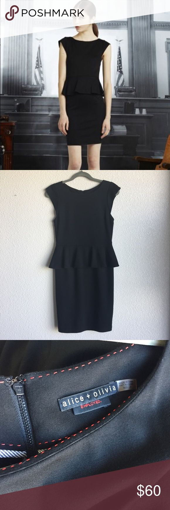 Alice + Olivia Victoria Black Peplum Dress Size 6 Super flattering peplum dress by Alice + Olivia Employed in a size 6. Excellent like new condition. Alice + Olivia Dresses