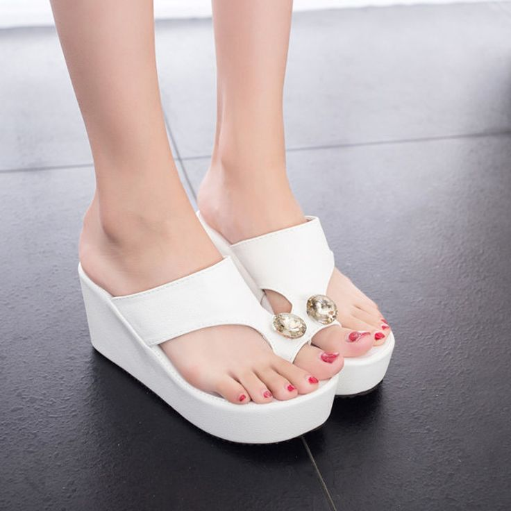 White Wedge Flip Flops Shoes