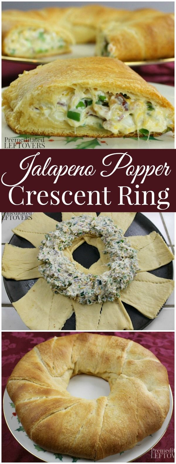 This Jalapeno Popper Crescent Ring is an easy holiday recipe. It only takes 7 ingredients and it can be prepped a day or two ahead of time and baked right before your party begins.