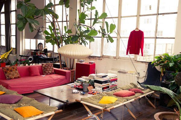 Isabel Marant's home: Paris Home, Big Window, Paris Apartment, Living Rooms, Colors Furniture, Isabel Marant, House, Jerome Dreyfuss, Indoor Plants