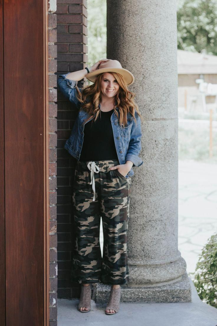 Camo For Summer -A fun pair of linen Camo pants paired with a black tee, jean jacket, and booties. Add a budget friendly hat to complete this fun summ...