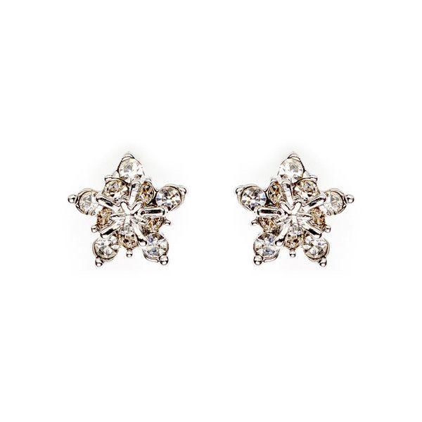 Silver Tri-Layer Star Design with Rhinestones Stud Earrings