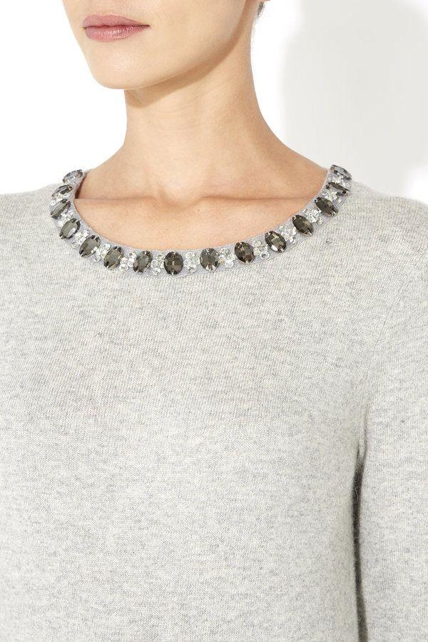 Grey Embellished Crew-neck Sweater: Wallis Petite Grey Embellished Jumper