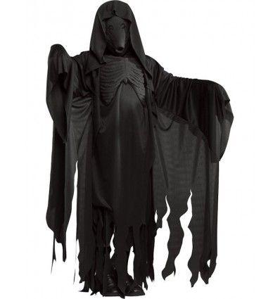 Svart lång svart dräkt med effektfullt bröstparti och huva medföljer gör även den svarta ansiktsmasken.  Detta är en officiellt licensierad Harry Potter™ produkt.